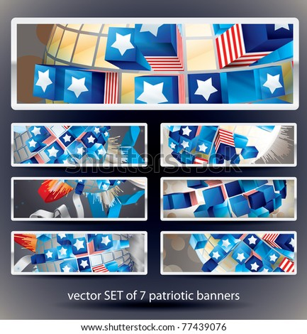 Set of 7 Vector banners. Exploding Sphere with American symbols