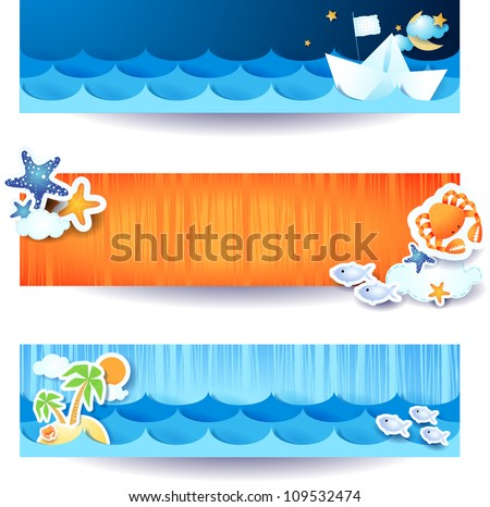 Set of vector banners holidays on the beach theme