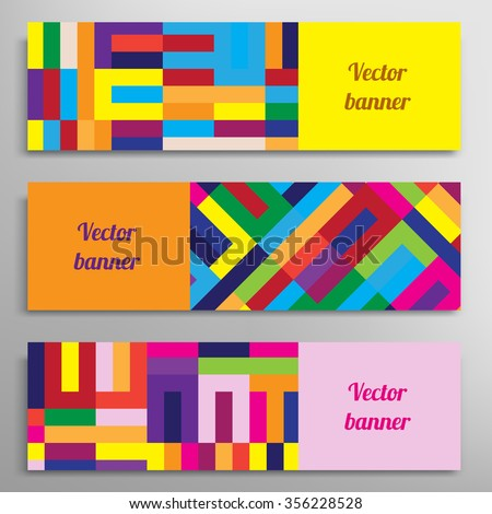 Set of vector banners with abstract geometric colored shapes