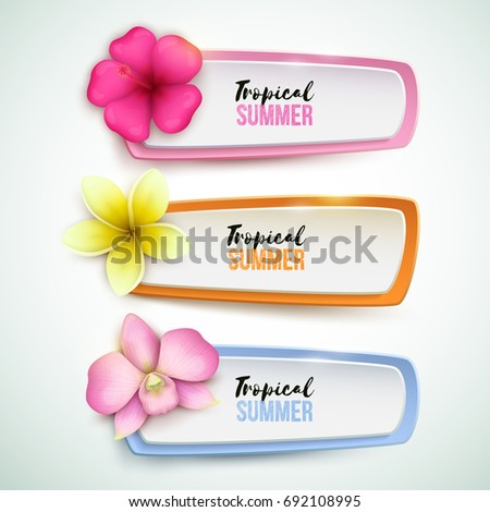 Set of vector banners with tropical flowers