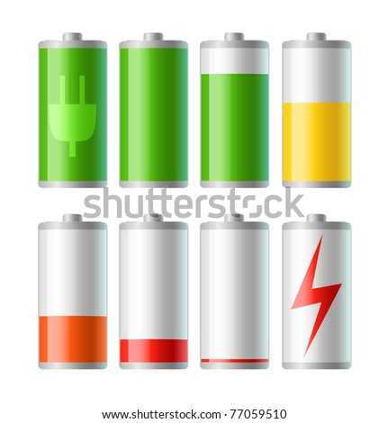 set of vector battery icons with level of charge