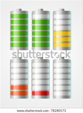 set of vector battery icons with level of charging