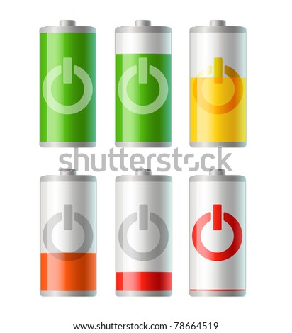 set of vector battery icons with level of charging. EPS 10.