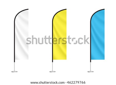 set of vector beach flags isolated on white background. blank event flags. white, yellow and blue feather flags