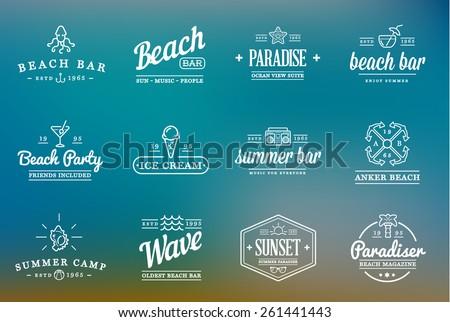 set of vector beach sea bar