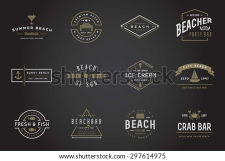 set of vector beach sea bar