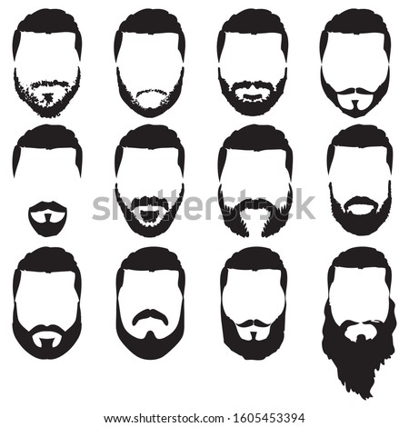Set of vector bearded hipster men faces with different haircuts, mustaches, beards. Trendy man avatar, emblem, male icon or logo.