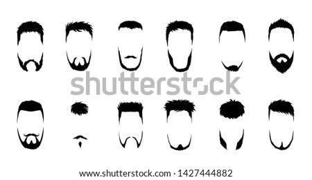 Set of vector bearded men faces, hipsters with different haircuts, mustaches, beards. Silhouettes, emblems, icons, labels.