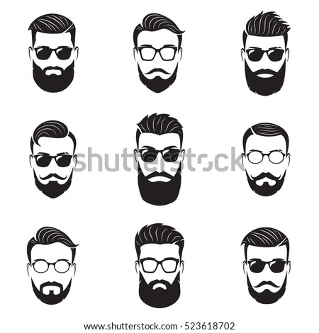 set of vector bearded men faces ...
