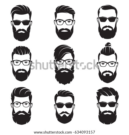 set of vector bearded men faces