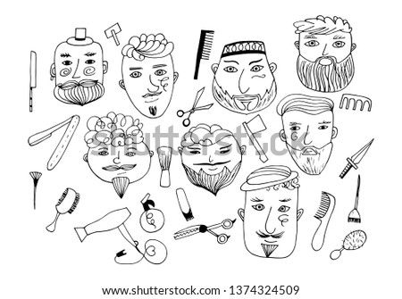 Set of vector bearded men with different haircuts, mustaches, beards. vatars, heads, emblems, icons, labels.
