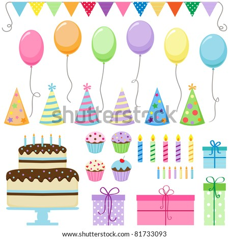 set of vector birthday party