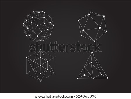 Set of Vector Black and White Lattice Shape Symmetric Lined Object with Dots.