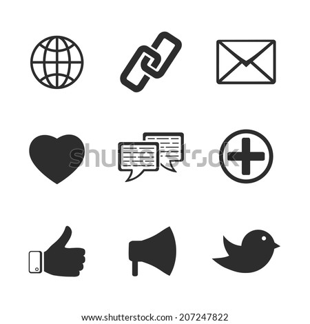 Set of vector black and white web social communication network twitter facebook icons including like bird link chat heart mail loudspeaker globe silhouette isolated on white
