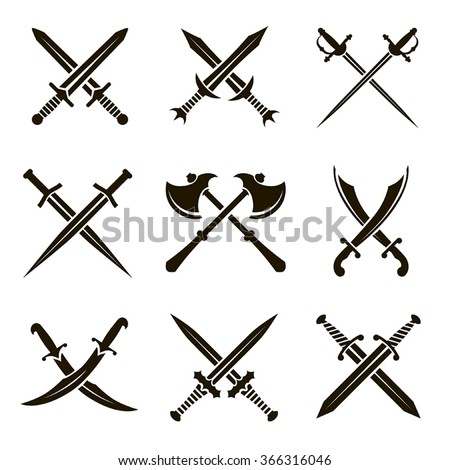 set of vector black heraldic