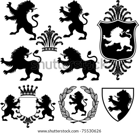 set of vector black heraldry silhouettes including lions, crowns, shields and garland
