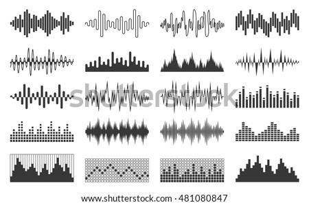 Set of vector black sound wave, equalizer and musical pulse icons for digital media, recording studio or radio station.