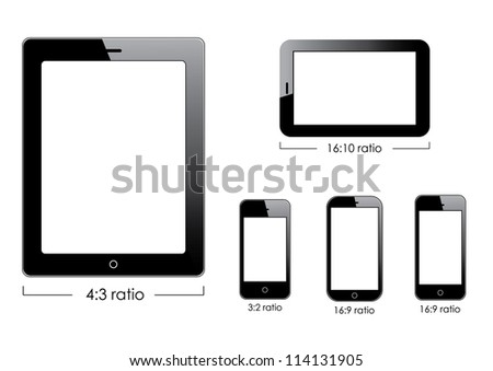 Set of vector blank generic tablet pc and smartphones. - stock vector