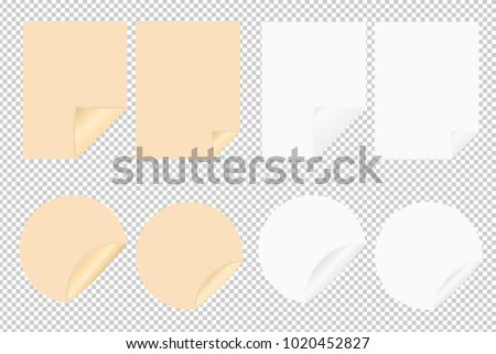 Set of vector blank leaf of paper and round stickers with bent corners on transparent background. Craft blank. Round paper. Sticky note isolated on transparent background. Template for your projects