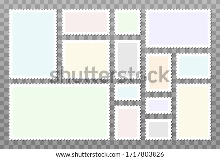 Set of vector blank postage stamps isolated on transparent background. Empty templates with place for your images and text. Foto stock ©
