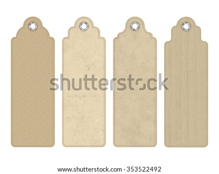 Set of vector blank vintage tags or bookmarks with various subtle cardboard texture