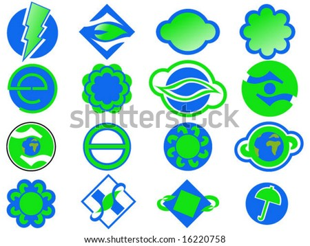 set of vector blue and green logo symbols
