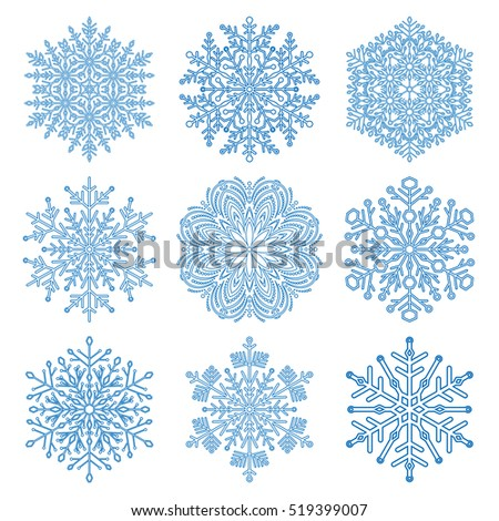 stock-vector-set-of-vector-blue-snowflakes-fine-winter-ornament-snowflakes-collection