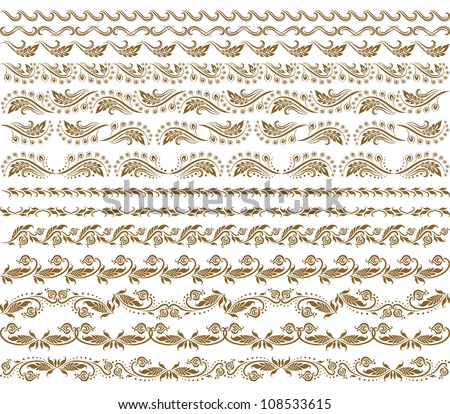Set of vector borders,  decorative elements for design. Page decoration.