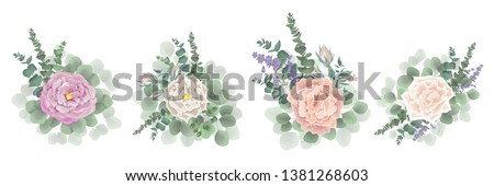 Set of vector bouquets of rose. Flowers, berries, lavender flowers on white background. All elements are isolated. Elements for wedding design.