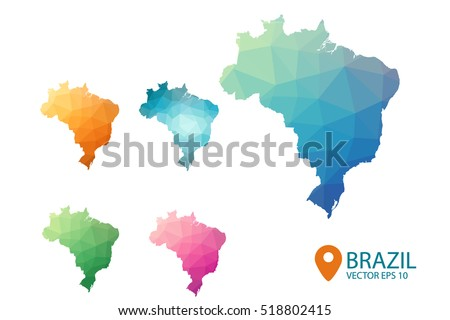 Set of vector Brazil maps. Bright gradient map of country in low poly style. Multicolored country map in geometric style for your infographics. Vector illustration eps 10.