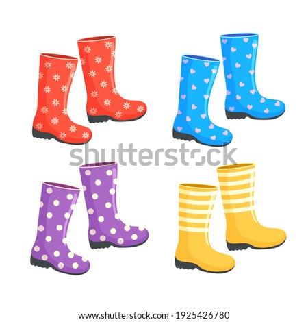 Set of vector bright colored boots. Rubber boots cartoon illustration. Isolated on white background. Boots with patterns  Photo stock ©