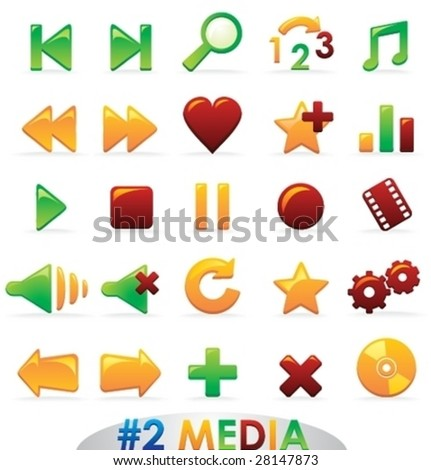 Set of Vector Bright Glossy Icons. Part 2: Media