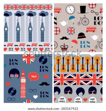 set of vector british patterns