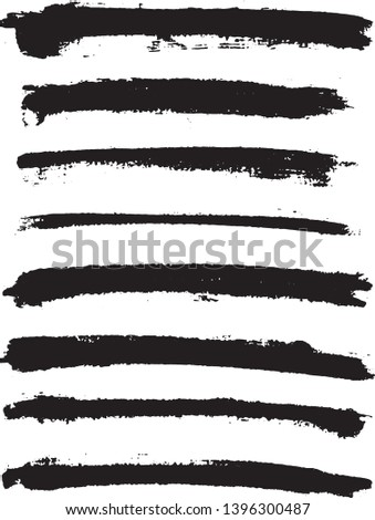 Set of vector brush strokes. Dirty ink texture splatters. Grunge rectangle text boxes.  #1396300487