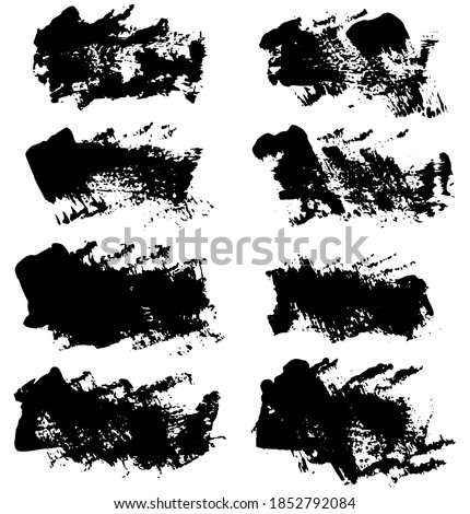 Set of vector brush strokes. Dirty ink texture splatters. Grunge rectangle text boxes	  stock photo