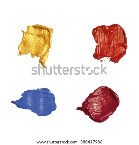 Set of vector brush strokes . Multi-colored paint spots on a white background