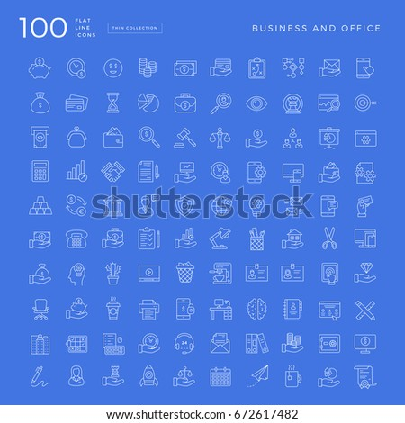 Set of 100 Vector Business and Office Thin Line Icons