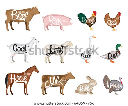 Set of vector butchery logo. Farm animals icon collection for grocery, meat store, packaging and advertising