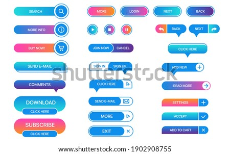 Set of vector buttons for websites, mobile applications. Design elements for website or app. Different gradient colors and icons on white background.