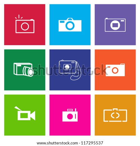 Set of Vector Camera Icons in Metro Style - see my other Icon Sets