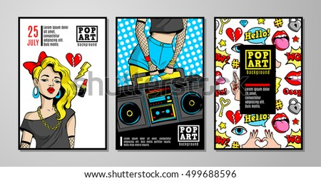 Set of vector cards and banners in 80s-90s pop-art comic style with fashion patches, pins and stickers. Can be used in cover design, book design, CD cover, advertising, posters and greeting cards.