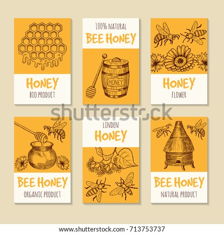 Set of vector cards for honey products. Healthy food symbols. Honey product banner collection illustration
