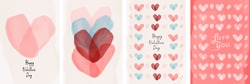 Set of vector cards for Valentine's day. Watercolor hearts drawn by a brush. Simple, minimalistic, holiday cards.
