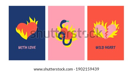 Set of vector cards. Illustration in bright colors with snake and flaming hearts. Vector textured pattern. Prints for textile, t-shirt, wrapping paper, greeting cards. Foto stock ©