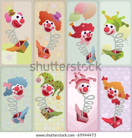 set of vector cards - jack in the box