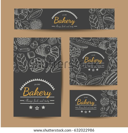 Set of vector cards with bakery products. Vector illustration for your design