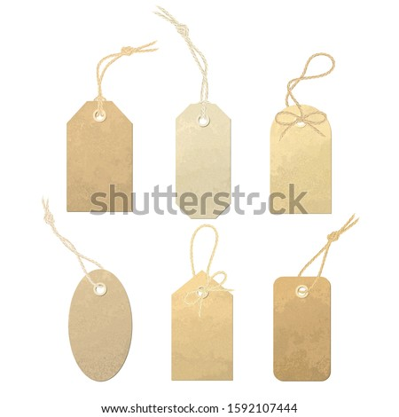 Set of vector carton labels with various linen string tying. Tags tied with knots and bows of realistic, detailed linen thread material. Stock photo ©