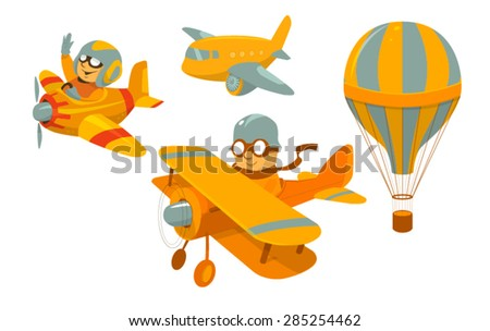 set of vector cartoon aircraft