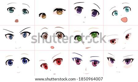 set of vector cartoon anime
