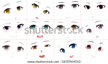 Set of Vector Cartoon Anime Style Expressions. Kawaii Cute Faces. Different Eyes, Mouth, Eyebrows. Joy. Anger. Calmness. Anime girl in japanese. Anime style, drawn vector illustration. Sketch.